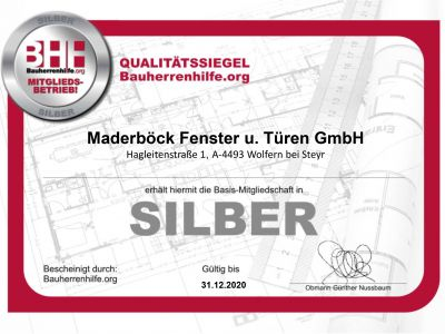BHH Zertifikat 2020 Silber